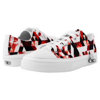 Triangle Geometric Vibrant Red Smoky Galaxy Printed Shoes