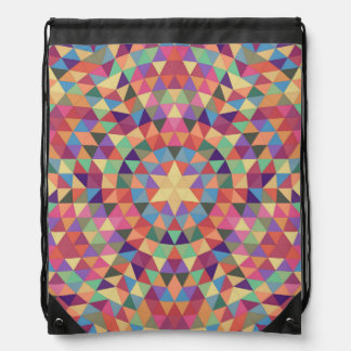Triangle mandala 1 drawstring bag