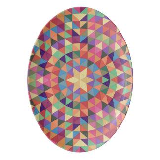 Triangle mandala 1 porcelain serving platter