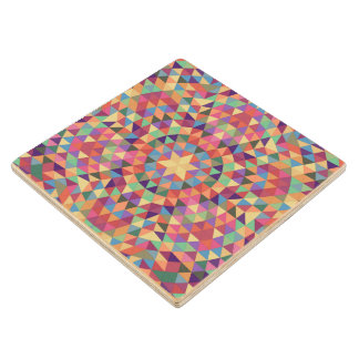 Triangle mandala 1 wood coaster