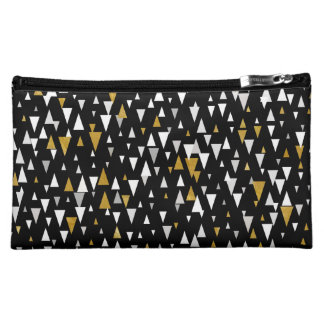 Triangle Modern Art - Black Gold Cosmetic Bag