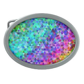 Triangle mosaic rainbow belt buckles