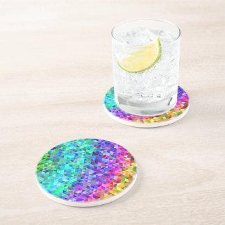 Triangle mosaic rainbow coaster