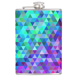 Triangle mosaic rainbow hip flask