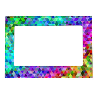 Triangle mosaic rainbow magnetic picture frame