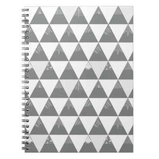 Triangle mountains in grey notebook