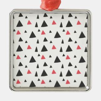 Triangle Pattern Silver-Colored Square Decoration