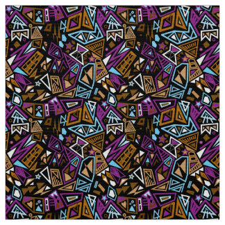 Triangle pop art cool bright black blue pattern fabric