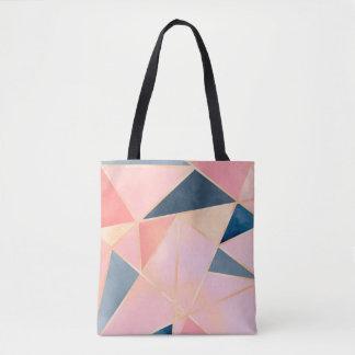 Triangles denim blue pink peach gold tote bag