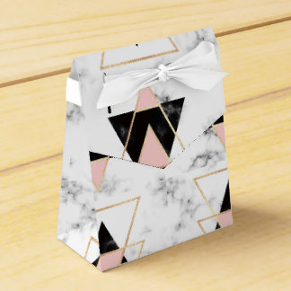 Triangles,gold,black,pink,marbles,collage,modern,t Favour Box