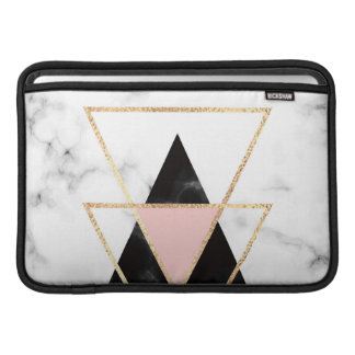 Triangles,gold,black,pink,marbles,collage,modern,t MacBook Sleeve
