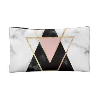 Triangles,gold,black,pink,marbles,collage,modern,t Makeup Bag