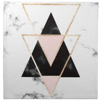 Triangles,gold,black,pink,marbles,collage,modern,t Napkin