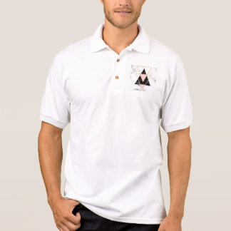 Triangles,gold,black,pink,marbles,collage,modern,t Polo Shirt