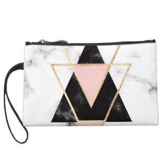 Triangles,gold,black,pink,marbles,collage,modern,t Suede Wristlet
