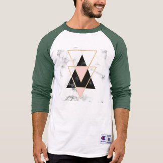 Triangles,gold,black,pink,marbles,collage,modern,t T-Shirt