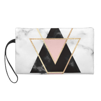 Triangles,gold,black,pink,marbles,collage,modern,t Wristlet