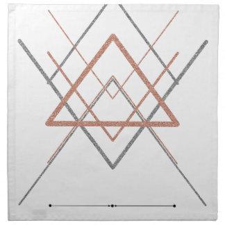 Triangles Rose Gold Silver Napkin