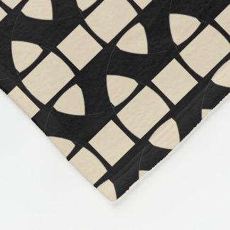 Triangles Square Motif accent Cream Fleece Blanket