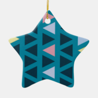 Triangles With Blue and Pink Love Ceramic Star Decoration