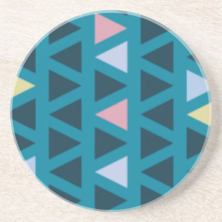 Triangles With Blue and Pink Love Sandstone Coaster
