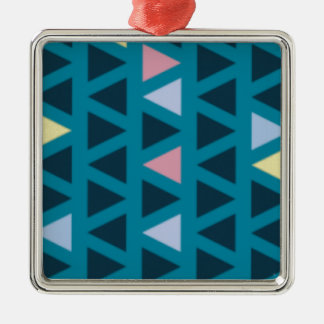 Triangles With Blue and Pink Love Silver-Colored Square Decoration