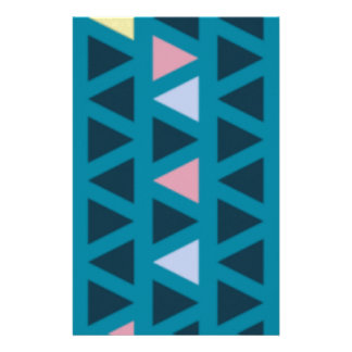 Triangles With Blue and Pink Love Stationery