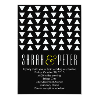 Triangles Yellow accent Modern Wedding Invitation
