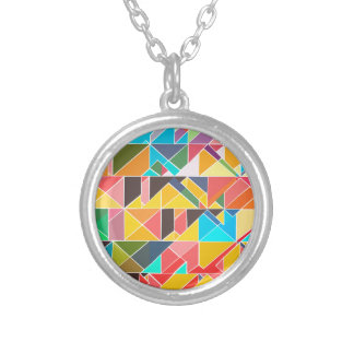 Triangular Abstract Design Silver Plated Necklace