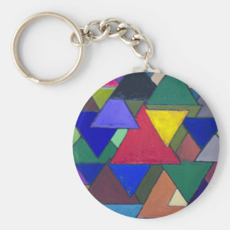 Triangular Colorful Invaders Basic Round Button Key Ring