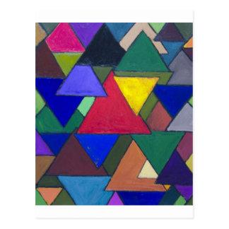 Triangular Colorful Invaders Postcard