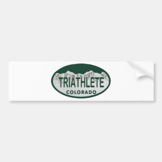 Triathlete license oval bumper sticker