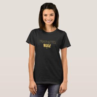 Triathletes Rule - Yellow on Black T-Shirt