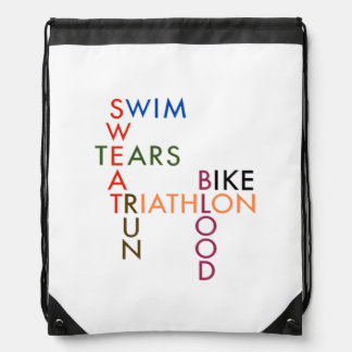 Triathlon Blood Sweat and Tears Drawstring Bag