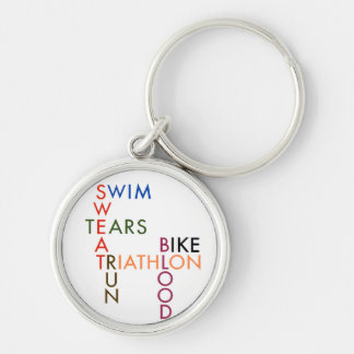 Triathlon blood sweat and tears Silver-Colored round key ring