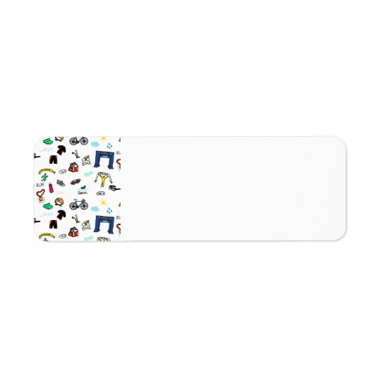 Triathlon Doodles Return Address Labels
