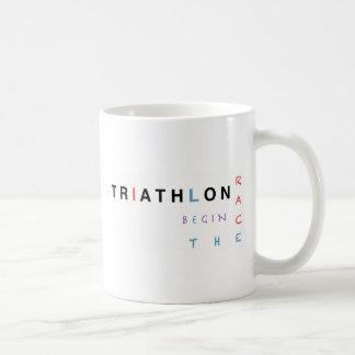 Triathlon let the race begin coffee mug