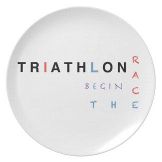 Triathlon let the race begin plate