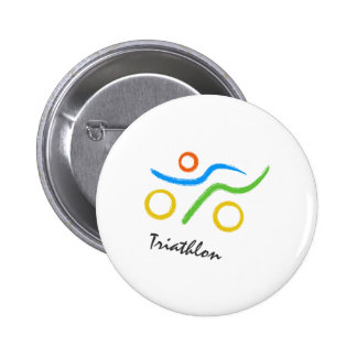 Triathlon logo 6 cm round badge