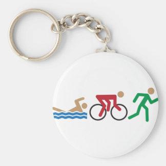 Triathlon logo icons in color key ring