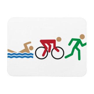 Triathlon logo icons in color rectangular photo magnet
