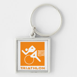 Triathlon orange and white key ring