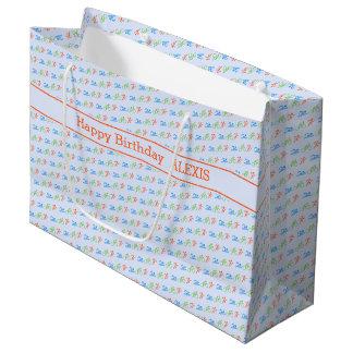 Triathlon pattern custom text name large gift bag