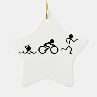 Triathlon Stick Figures Ceramic Ornament