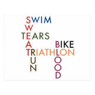 triathlon Swim Bike Run Blood Sweat Tears Postcard