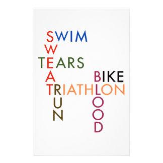 Triathlon Swim Bike Run Blood Sweat Tears Stationery