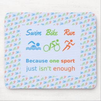 Triathlon swim bike run pictogram quote mouse pad