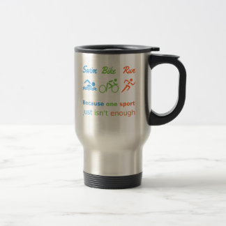Triathlon swim bike run quote personalized sports travel mug