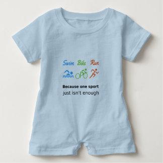 Triathlon swim bike run sports quote baby bodysuit