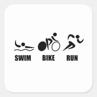 Triathlon Swim Bike Run Square Sticker